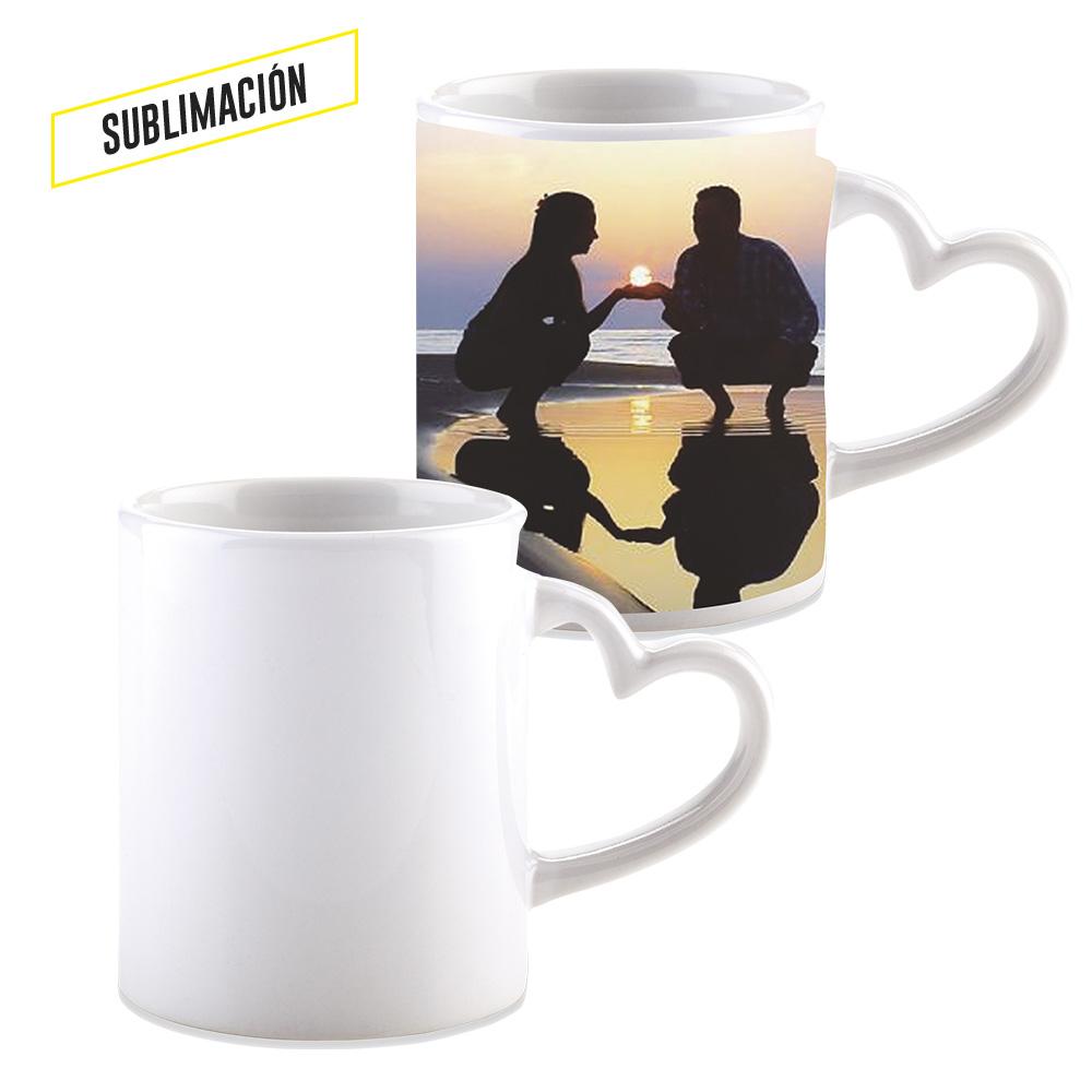 Mug Ceramica para Sublimacion Corazon 11oz