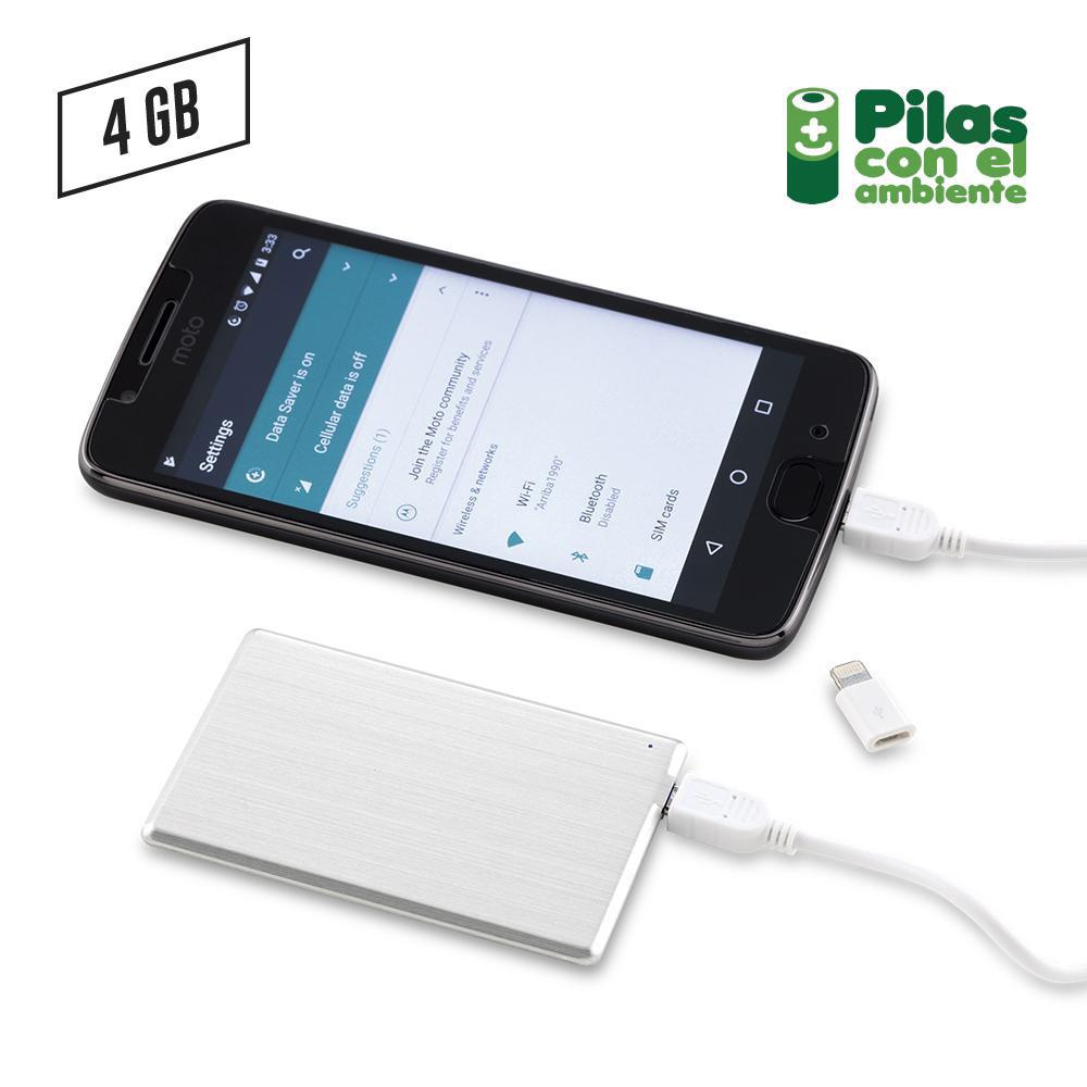 Memoria USB Tarjeta Pila Recargable 1000 mAh