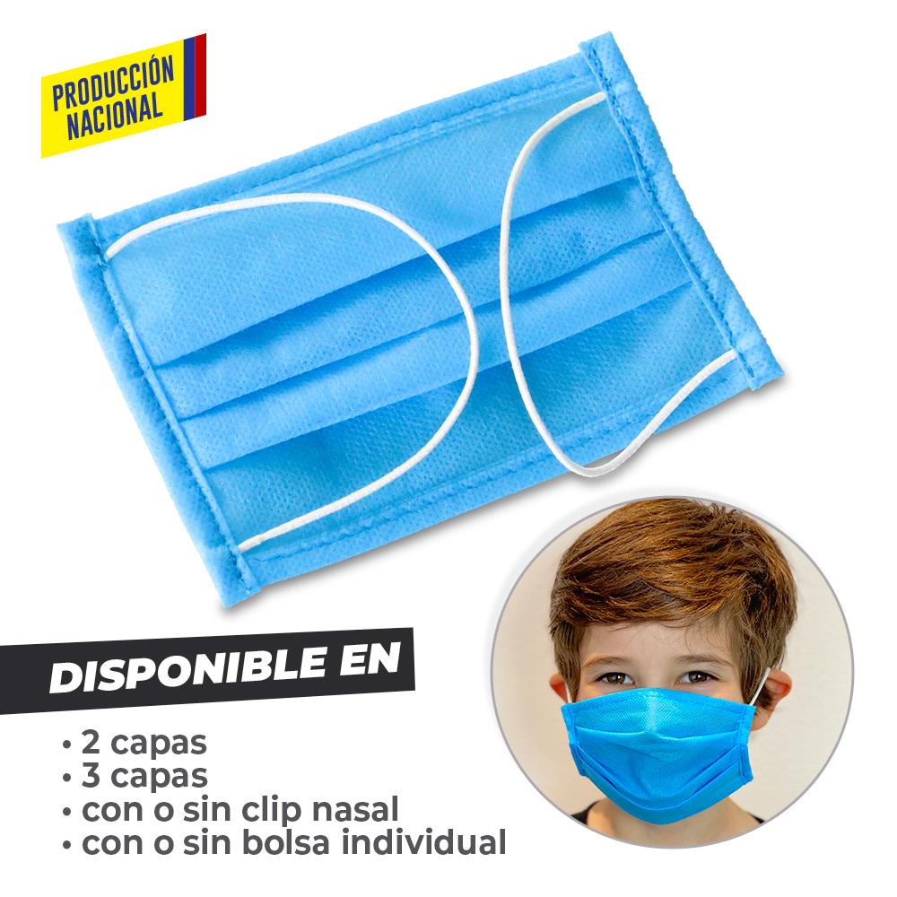 Tapabocas Desechable 3 Pliegues Infantil -Produccion Nacional NUEVO PRECIO NETO
