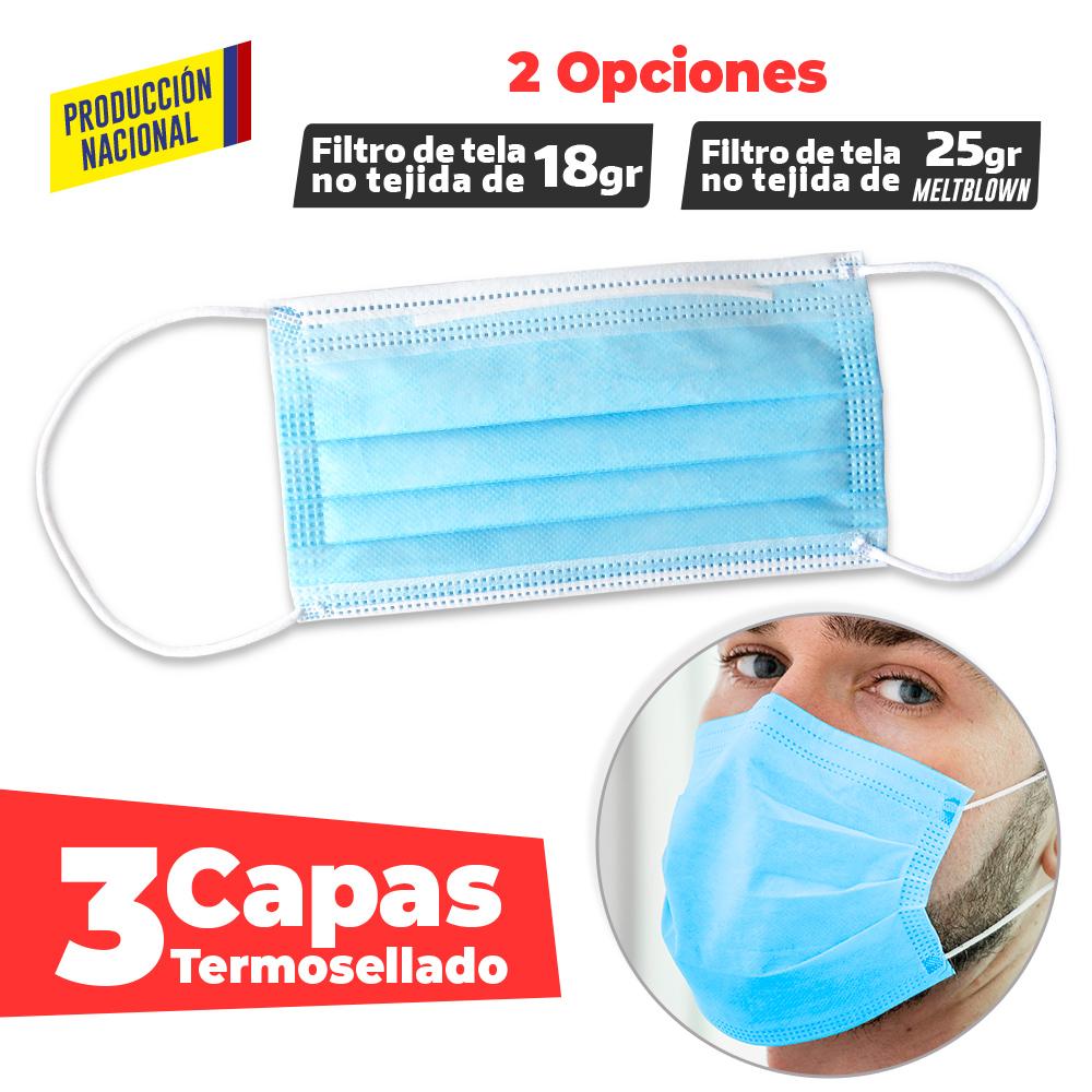 Tapabocas Desechable TERMOSELLADO Adulto-Produccion Nacional NUEVO PRECIO NETO