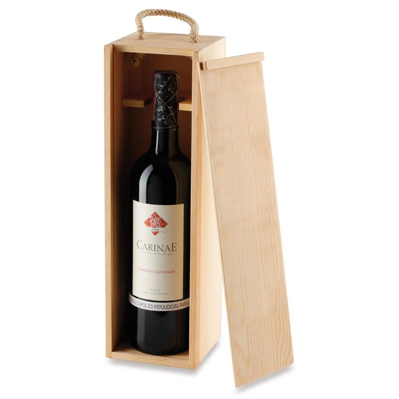 Caja en Pino para una botella de Vino